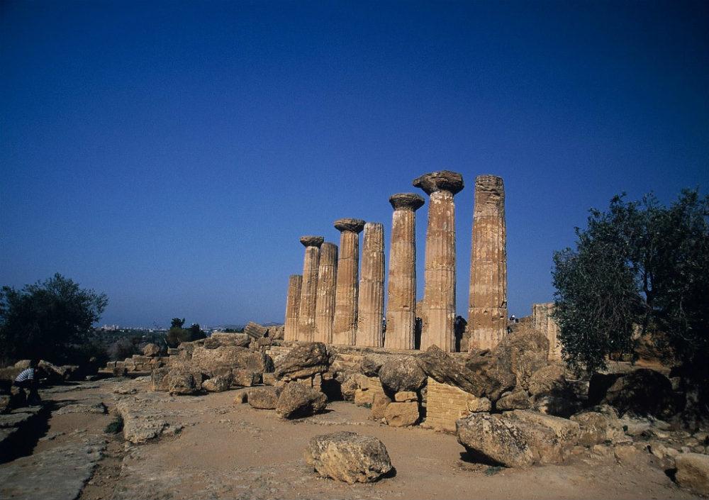 イタリアシチリア島、アグリジェント、神殿の谷ヘラクレス神殿
