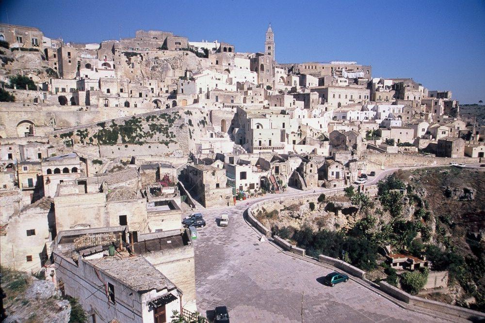 南イタリア、マテーラ、サッシ・洞窟住居。イタリア世界遺産