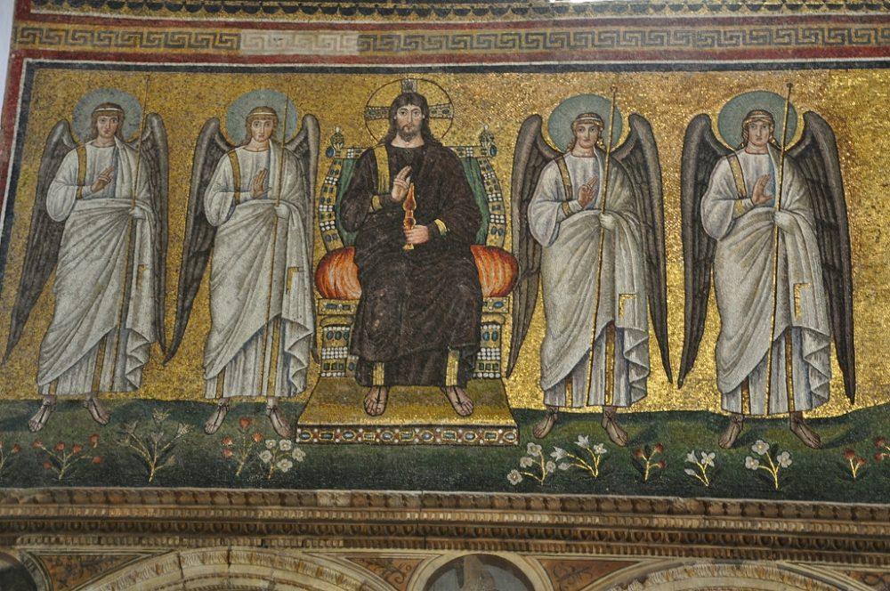 壁画の一部。王座に座る救世主キリスト。心廊奥右側モザイク壁画